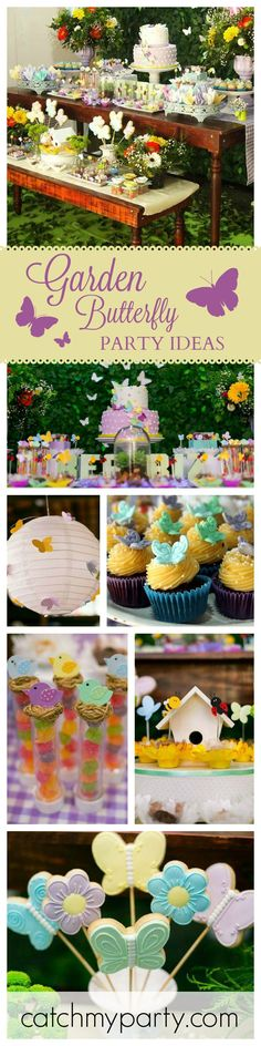 Look no further for pretty ideas to host the perfect Garden Butterfly Party! How adorable are these cookies? See more party ideas at CatchMyParty.com