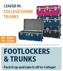 Trunks are a great way to create extra storage space in your cramped dorm room. College Dorm Essentials, College Dorm Rooms, Dorm Life, College Life, Extra Storage Space, Storage Spaces, Dorm Organization, Organizing, University Bedroom