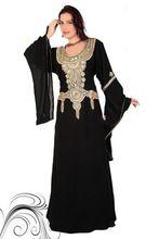 Nueva Llegada 2016 de Lujo de Dubai Kaftan Abaya Islámico Negro Manga Larga para Mujeres Musulmanas Vestido Largo Árabe Kaftan Vestido de Noche de Lujo(China (Mainland))