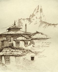 Image result for drawings nepal mountains