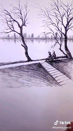 Landscape Pencil Drawings, Landscape Sketch, Pencil Art Drawings, Drawing Scenery, 3d Art Drawing, Nature Drawing, Sketch Drawing, Sketching, Art Drawings Beautiful