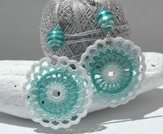 Crocheted  Earrings in Mint and White color Crochet by lindapaula, €11.00