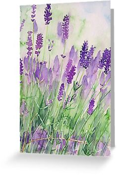 """4"""" x 6"""" cards for every occasion. Digitally printed on heavyweight stock. Uncoated blank interior provides a superior writing surface. Comes with a kraft envelope. Additional sizes are available. Watercolour of a part of a lavenderfield in Provence.Lavender is not only used to produce perfumes, it is also a fantastic healing remedy. Watercolor Paintings For Beginners, Watercolor Projects, Beginner Painting, Beginning Watercolor Tutorials, Beginning Painting Ideas, Easy Painting Projects, Watercolor Ideas, Watercolor Pencil Art, Watercolor Landscape"""