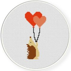 Hedgehog With Balloons Cross Stitch Pattern