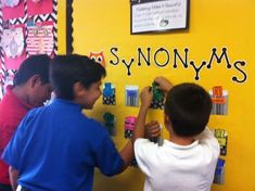 Interactive Synonym wall is one of the best bulletin boards in the world! Kids add it all year!