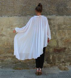 White Maxi top White Maxi tunic Plus size by cherryblossomsdress
