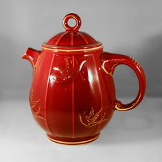 Hall China BIRDCAGE Teapot, maroon w/gold trim