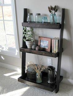 Shorter leaning wall shelf with 3 shelves