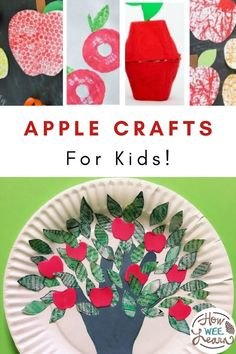 The cutest apple crafts for kids! These apple arts and crafts are nice and easy for preschoolers and little kids to make. Some of the ideas use real apples, and others use paintings or drawings of apples. Fall Preschool Activities, Preschool Arts And Crafts, Apple Activities, Toddler Activities, Easy Fall Crafts, Crafts For Kids To Make, Kids Crafts, Autumn Leaves Craft, Non Toy Gifts