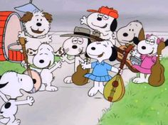 Snoopy's Siblings, from left to right, Snoopy, Andy, Marbles, Spike, Olaf, Molly, Rover and Belle