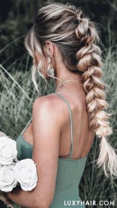 How gorgeous is this pull-through braid with Luxy Hair extensions on French Braid Hairstyles, Box Braids Hairstyles, Cute Prom Hairstyles, Hairstyle Braid, Date Night Hairstyles, Hairstyle Ideas, Boho Hairstyles For Long Hair, Pink Hairstyles, Pulled Back Hairstyles