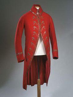 Coat, second half 18th century. Red wool plain weave with silver thread embroidery. Worn by Sir Watkin Williams-Wynn, Wynnstay (1749-89).