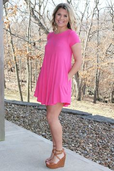 Go With The Flow Dress - Hot Pink >> www.anchorabella.com New Arrivals Daily! Fast, Free Shipping!