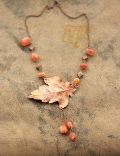 Real oak leaf necklace, flying bird jewelry, electroformed leaves, electroforming, semiprecious stone, elven elvish elf, electroplated