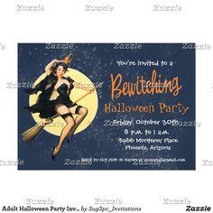 Halloween invitation adult halloween party invitation sexy costume shop halloween retro witch pin up party invitation created by sugspcinvitations stopboris Images