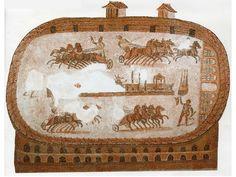 """""""Mosaico de Cartago en el que se representa una carrera de cuádrigas"""""""