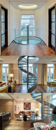 Loft-Style Penthouse Apartment in London with Metal Spiral Staircase Penthouse Apartment, London Apartment, Cute Bear Drawings, Modern Loft, Spiral Staircase, Apartment Interior Design, Loft Style, Luxury Apartments, Wood And Metal
