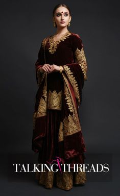 A regal beauty, this is a burgundy silk velvet dupatta with Kashmiri gold tilla aari embroidered pallav and borders. The embroidery around the velvet dupatta is 3 inches wide along the length and 7 inches wide along the width. The dupatta is Pakistani Formal Dresses, Pakistani Wedding Outfits, Pakistani Dress Design, Bridal Outfits, Indian Dresses, Indian Outfits, Wedding Dresses, Winter Wedding Outfits, Mehendi Outfits