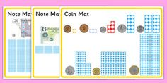 Maths Intervention Money Mats - SEN, special needs, maths, money, counting… Ks1 Maths, Maths Area, Numeracy, Primary Resources, Learning Resources, Classroom Resources, Classroom Ideas, Teaching Money, Teaching Math
