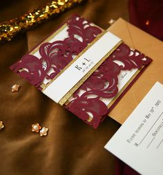 fall and winter burgundy and glitter gold laser cut wedding invitations Pocket Wedding Invitations, Laser Cut Wedding Invitations, Elegant Wedding Invitations, Wedding Card, Invites, Blue And Blush Wedding, Burgundy Wedding, Pumpkin Wedding, Winter Wedding Colors