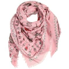 Alexander Mcqueen Women Vodoo Skull Printed Silk Blend Scarf (4.640 ARS) ❤ liked on Polyvore featuring accessories, scarves, light pink, skull shawl, alexander mcqueen, alexander mcqueen scarves and skull scarves