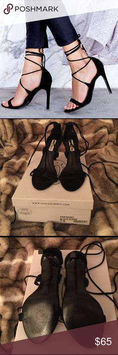 Steve Madden Presidnt Heel Black suede lace up high heeled sandal. Worn once to a holiday party. Super cute and add a little glam to even the most basic outfit! Steve Madden Shoes Heels