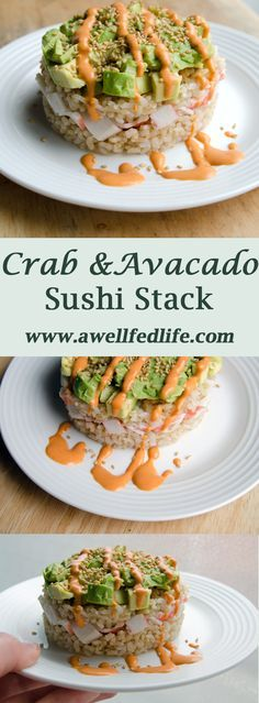 I have can of jumbo lump This crab and avocado sushi stack will satisfy your sushi craving - guaranteed. Stacks of rice, crab, and avocado topped with magic sauce and spicy sriracha mayo. Fish Recipes, Seafood Recipes, Asian Recipes, Dinner Recipes, Cooking Recipes, Healthy Recipes, Ethnic Recipes, Cooked Sushi Recipes, Cobb