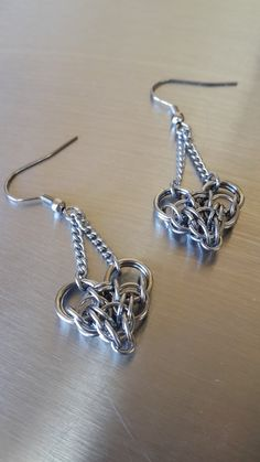 Tiny Chainmaille Heart Earrings in Stainless Steel by Gen3studioS