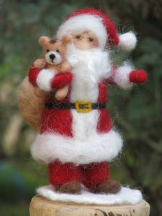 Needle felted Santa Claus, Waldorf inspired Christmas home decoration. $89.00, via Etsy.