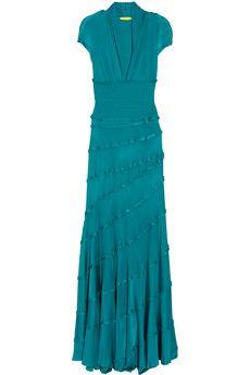 Catherine Malandrino   Ruffle-trimmed satin-jersey maxi dress