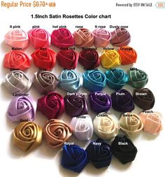 25% Off WHOLESALE Satin Roses Satin Rosettes Vintage Roses Wedding Roses Flowers Beautiful Rolled Satin Rosettes Embellishments Wedding Acce