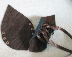Woodland Silk Leaf Cuffs in Ocean Blue and Brown by AncientGrove
