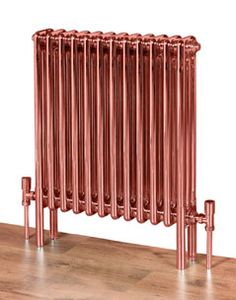 Copp'a look at this radiator! Feature Radiators' Coppa multi-column - mild steel with lacquered copper coating - for the ultimate in industrial chic. They are available wall-mounted in more sizes and colours by special order. Column Radiators, Cast Iron Radiators, Copper And Grey Kitchen, Traditional Radiators, Sips Panels, Bathroom Radiators, Column Design, Designer Radiator, Houses