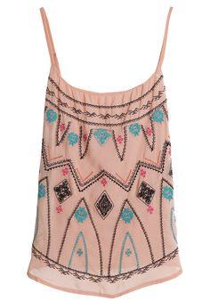 Pink Spaghetti Strap Embroidery Chiffon Summer Boho Tank