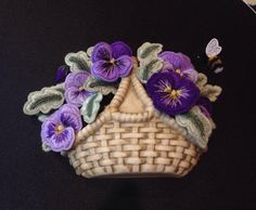Basket of Pansie Kit from Alison Cole...stitched by Julie Power 2015