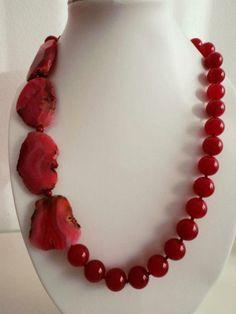 Collar de ágatas fucsias y jade rojo, Joyería, Collares, Bisutería, Collares,
