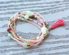 Beaded Wrap Bracelet with or without Tassel -  Seed Bead Stackable Multi Strand Stretch Bracelet