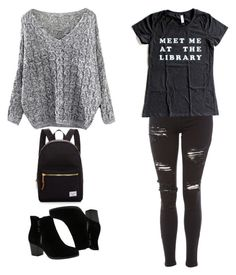 """Library Ready"" by lucydanvers on Polyvore featuring Topshop, Skechers and Herschel Supply Co."