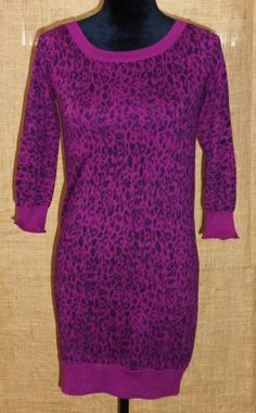 Juicy Couture knit long sleeve dress Leopard print M/Medium #JuicyCouture #Casual