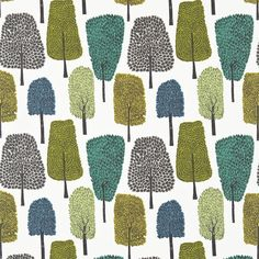 Scion Cedar 120354 (Slate/Apple/Ivy) fabric from the Levande collection, priced per metre. Naively drawn trees and leaves in trend-inspired colour palettes
