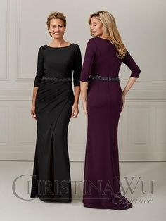 Evening Dresses With Sleeves, Evening Gowns, Christina Wu, Stretch Satin, Bridesmaid Dresses, Wedding Dresses, Mother Of The Bride, Bridal, Formal Dresses