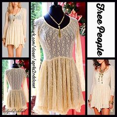 """FREE PEOPLE Lace Dress Ivory A Line  NEW WITH TAGS  RETAIL: $98 FREE PEOPLE Lace Dress Ivory A Line  * Allover beautiful lace overlay; Semi-sheer & subtly sexy top for layering.   * V-neckline & A-line silhouette.  * Long sleeves, a flouncy Ruffles hem, & a stretch-to-fit style.  * Subtly flared double layer skirt. * Measures about 32.5"""" long.  Fabric: Nylon & 5% spandex. 127500 Color: Ivory  No Trades ✅Offers Considered*/Bundle Discounts✅ *Please use the 'offer' button to submit an offer…"""