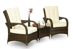 Arizona Rattan 2 x Arm Chair & Table Outdoor Lounge Set Patio Garden furniture (Assembled)