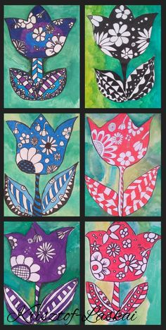 Spring Art Projects, Spring Crafts For Kids, School Art Projects, Art For Kids, 2nd Grade Art, Ecole Art, Art Curriculum, Art Lessons Elementary, Art Classroom