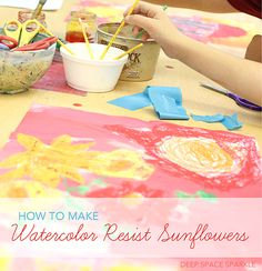 Create a happy watercolor resist with this Van Gogh-Inspired Sunflower panting for little ones.