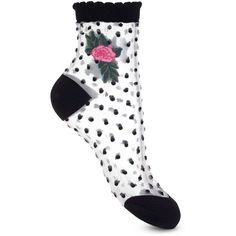 Miss Selfridge Rose Patch And Polka Dot Sheer Socks ( 7) ❤ liked on  Polyvore featuring intimates 0255d6715