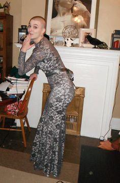 8edb7afbe8 Baylis   Knight Black Nude Lace Long Sleeve Low Cut FISHTAIL  MERMAID  Burlesque MAXI Pencil Hobble Dress Gown Dita
