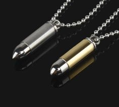 Stainless Steel Bullet Pendant Necklace- Free Shipping