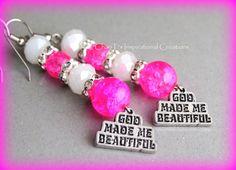 God Made Me Beautiful Pink Christian Earrings by CIC, $16.00 #Christianewomen #Prov31woman #Jesus