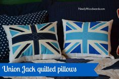 Make a simple quilted Union Jack pillow with the help of a fabric panel.